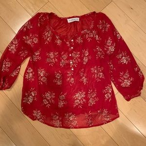 Abercrombie sheer red with gold print tunic